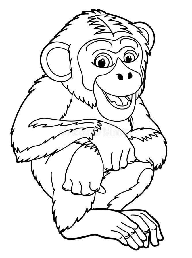 Animal dos desenhos animados - macaco - caricatura ilustração stock