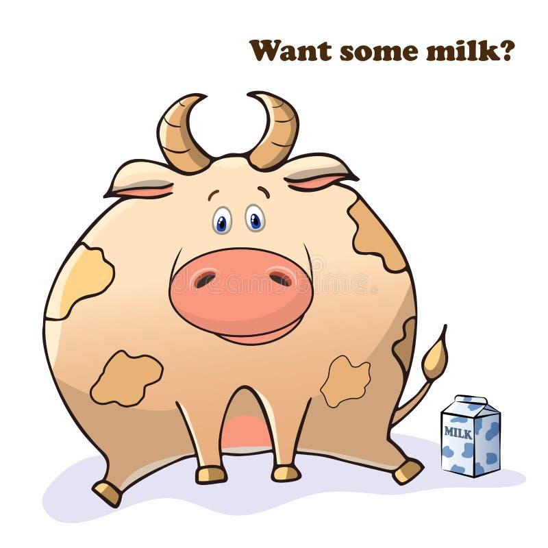 Animal dr?le de vecteur Vache mignonne épaisse avec une boîte de lait Carte postale avec une expression comique Gros animal migno illustration de vecteur