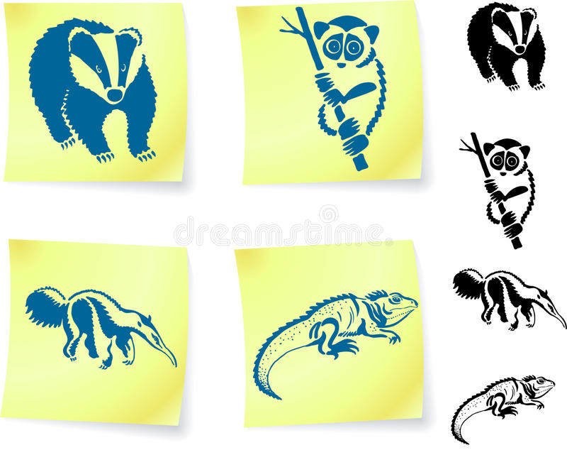 Animal drawings on post it notes. Original illustration 6 color versions included royalty free illustration