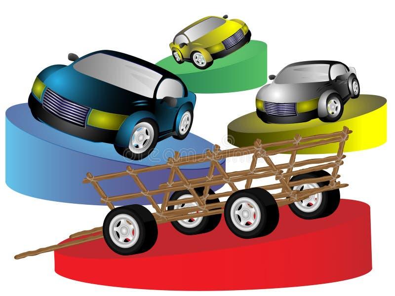 Animal-drawn vehicle and cars royalty free illustration