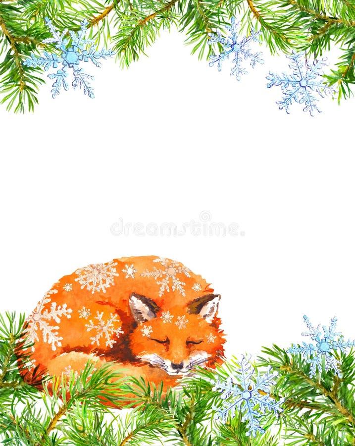 Animal en escamas de la nieve, marco del Fox de las ramas de árbol de abeto Tarjeta de Navidad watercolor ilustración del vector