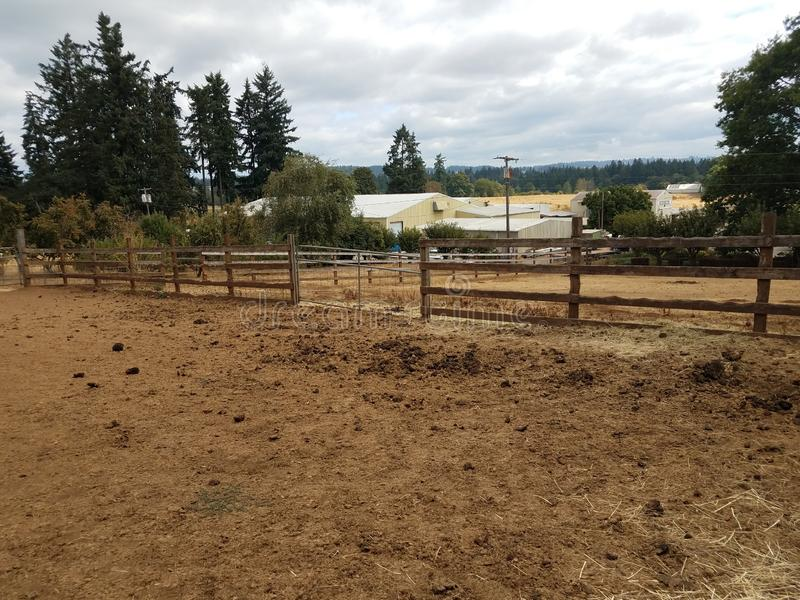 Animal enclosure on farm with dirt and poop. Animal enclosure on farm with fence, dirt, and poop stock images