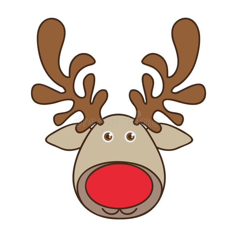 animal engraçado da rena da cara dos desenhos animados coloridos ilustração royalty free