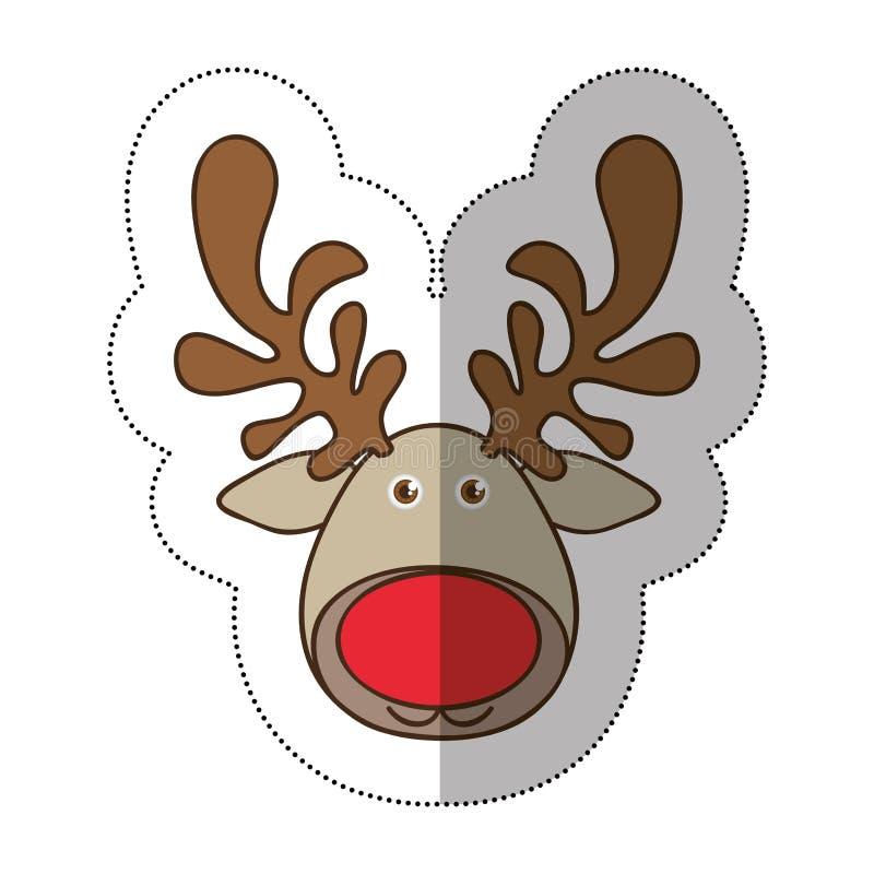 animal engraçado da rena da cara dos desenhos animados coloridos da etiqueta ilustração royalty free