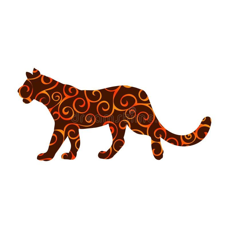 Animal espiral despredador salvaje de la silueta del color del modelo de la leona libre illustration
