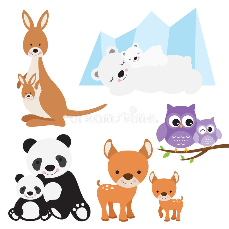 Animal et bébé illustration stock