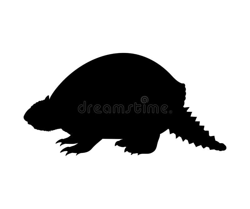Animal extinto del mamífero de la silueta prehistórica del armadillo de Glyptodon stock de ilustración
