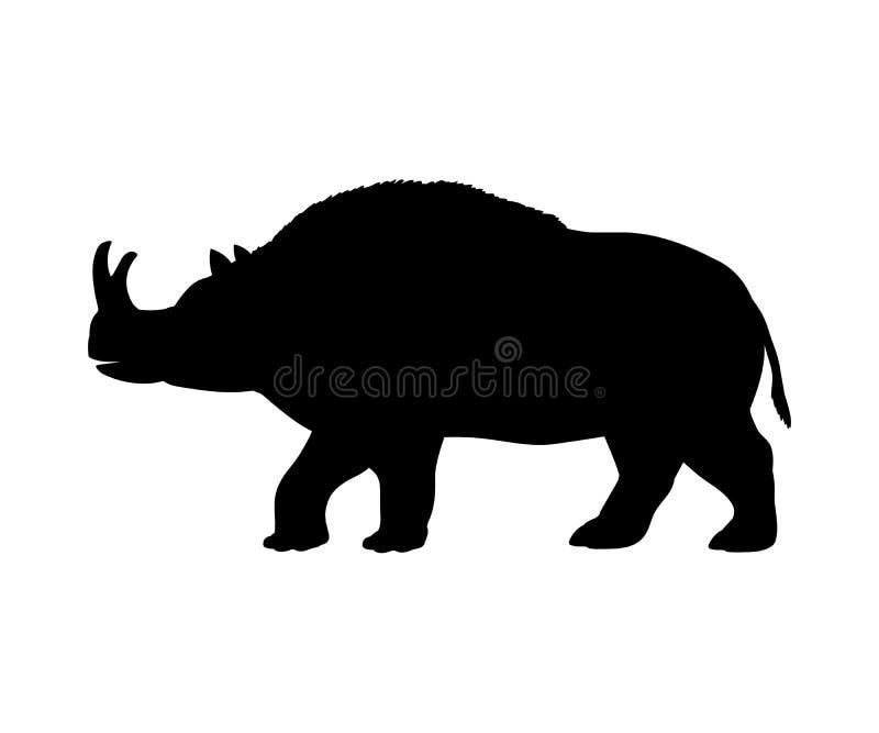 Animal extinto del mamífero de la silueta del rinoceronte de Brontotherium stock de ilustración