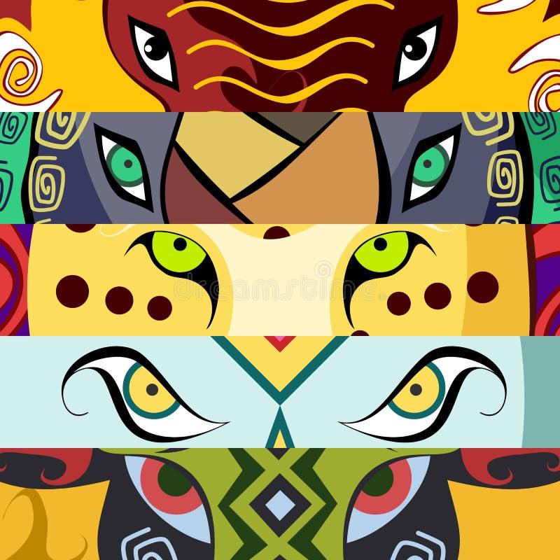 Animal eyes. Elephant, buffalo, lion, leopard, rhino. Vector illustration. royalty free illustration