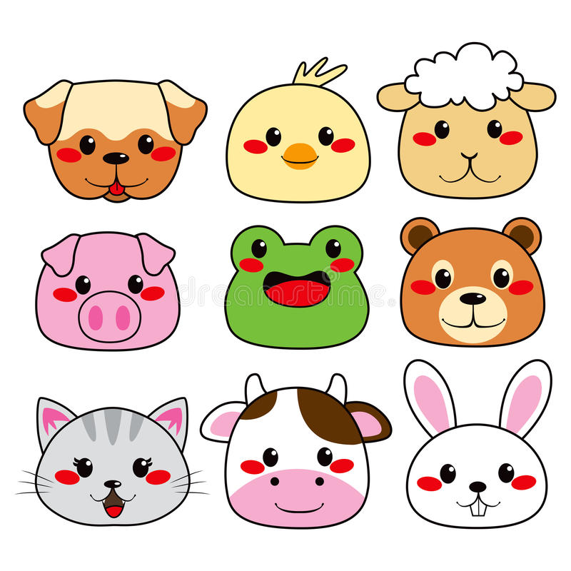 Download Animal Face Collection stock vector. Image of sweet, lamb - 24998180