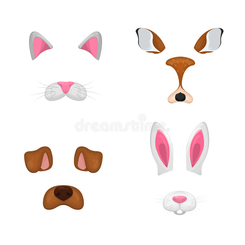 Animal face elements set. Vector illustration. For selfie photo decor. Constructor. Cartoon mask of cat,deer,rabbit,dog. Isolated. On white stock illustration