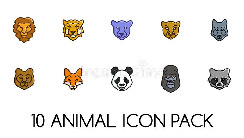 Animal Face Icons Logos Pack. Animal Icon Face. For Icons or Logos. Wild Life Junggle. Farm royalty free illustration
