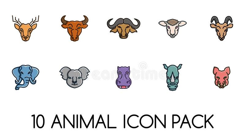 Animal Face Icons Logos Pack. Animal Icon Face. For Icons or Logos. Wild Life Junggle. Farm stock illustration