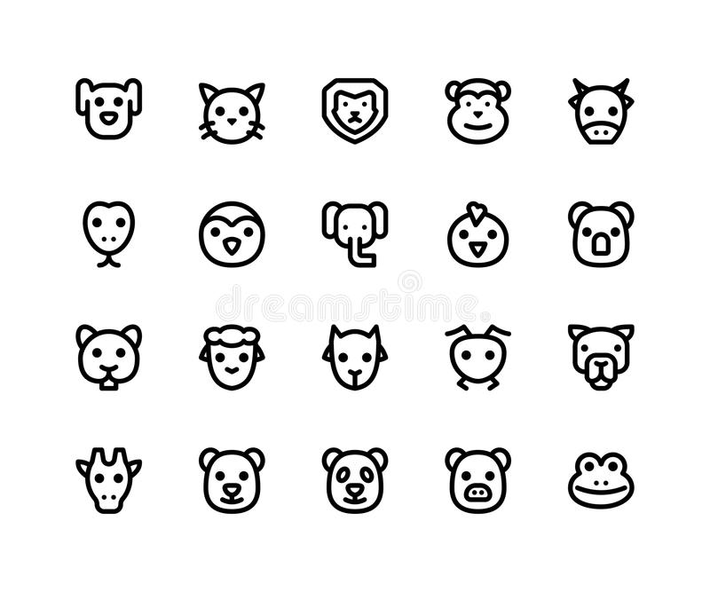 Animal Face Line Icons. Simple Set of Animal Face Related Vector Line Icons. Contains such Icons as dog, cat, lion, monkey, cow and More. pixel perfect vector stock illustration