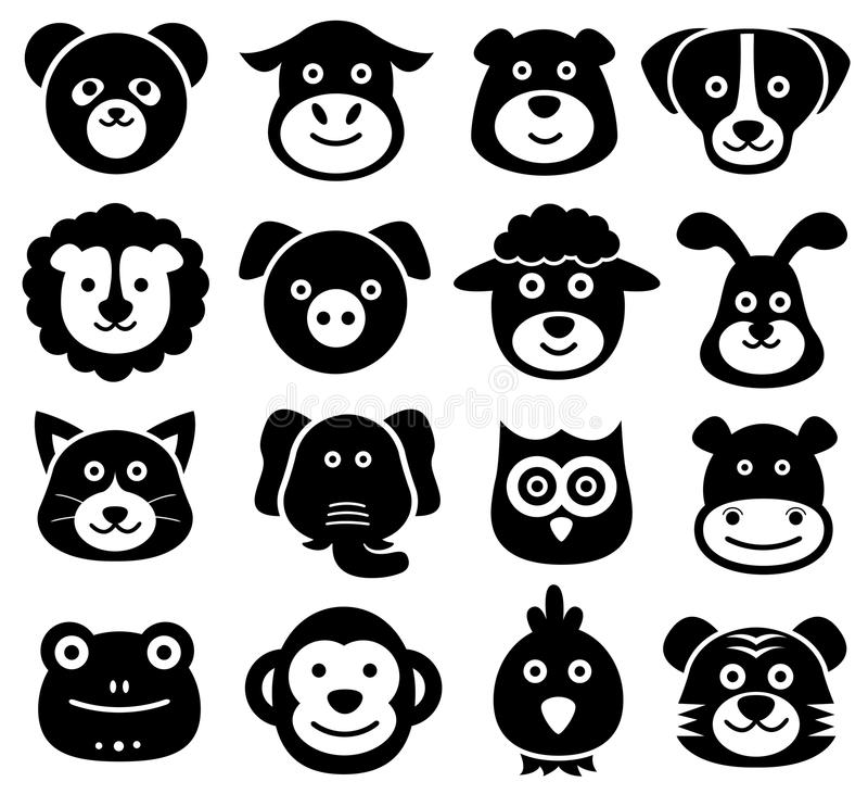 Animal Faces, Animal Icons, Silhouettes, Zoo, Nature vector illustration