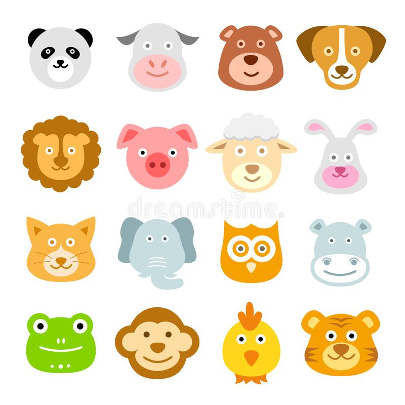 Animal Faces Icons, Baby Animal Heads, Zoo, Nature. Vector Illustration of Baby Animal Faces Icons. Best for Icon Set, Design Element, Zoology, Wildlife, Nature royalty free illustration