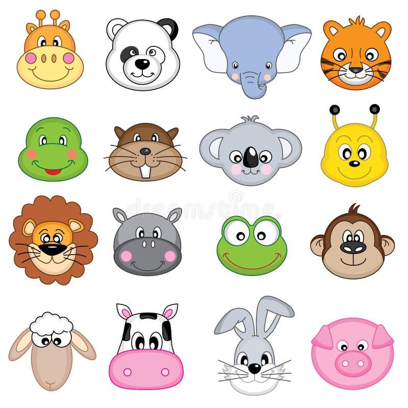 Animal faces icons. Farm animals, dangerous animals, mammals royalty free illustration
