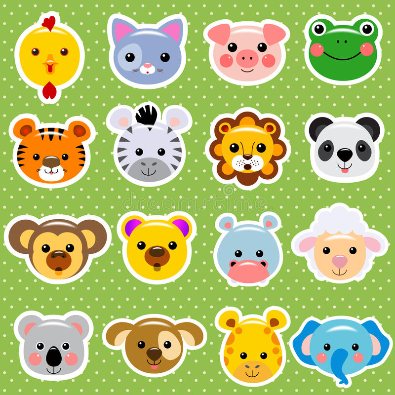 Free Animal Faces Sticker Collection Stock Image - 40574011