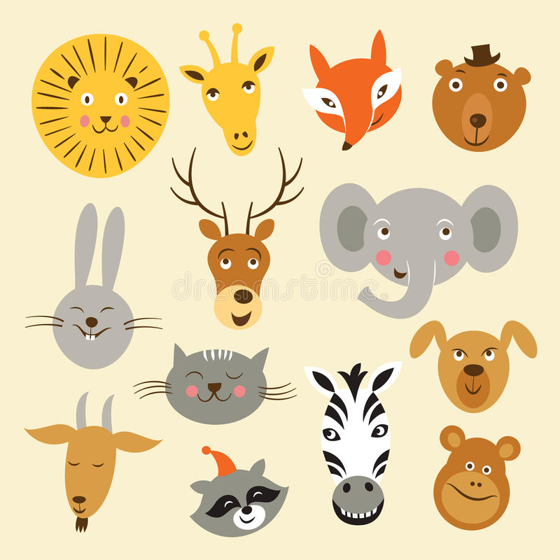 animal faces royalty free illustration
