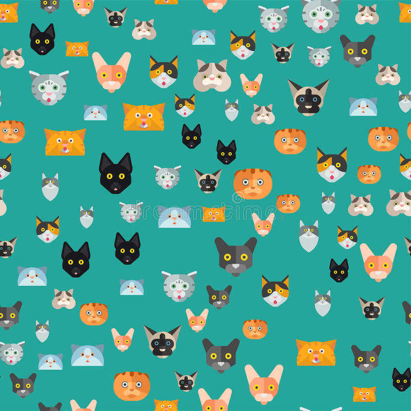 Animal familier à la mode domestique félin de modèle d'illustration de vecteur de chats de caractères décoratifs drôles sans cout illustration stock