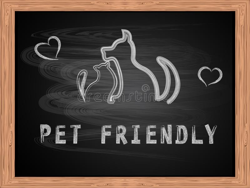 Animal familier blanc des textes de craie silhouettes amicales et d'ensemble de chien et de chat sur la conception plate de table illustration stock