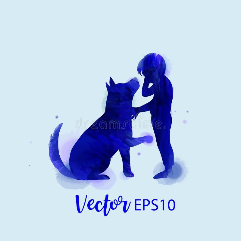Animal familier care Garçon pleurant avec la silhouette de chien sur le fond d'aquarelle Le concept de la confiance, amitié Peint illustration libre de droits