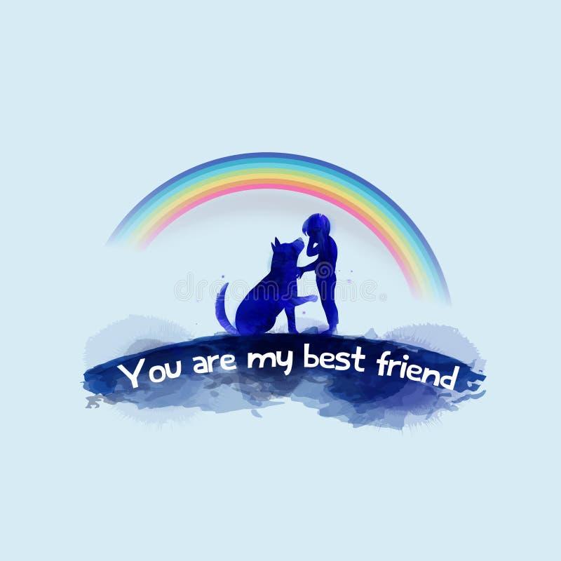Animal familier care Garçon pleurant avec la silhouette de chien sur le fond d'aquarelle Le concept de la confiance, amitié Peint illustration de vecteur