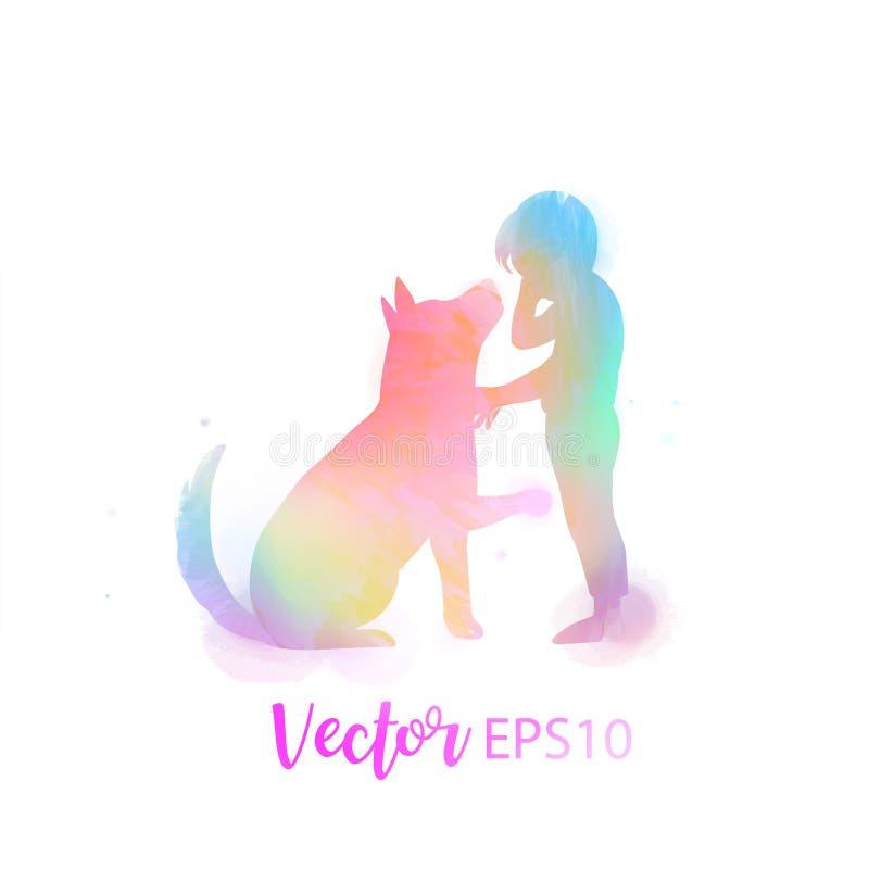 Animal familier care Garçon pleurant avec la silhouette de chien sur le fond d'aquarelle Le concept de la confiance, amitié Peint illustration stock