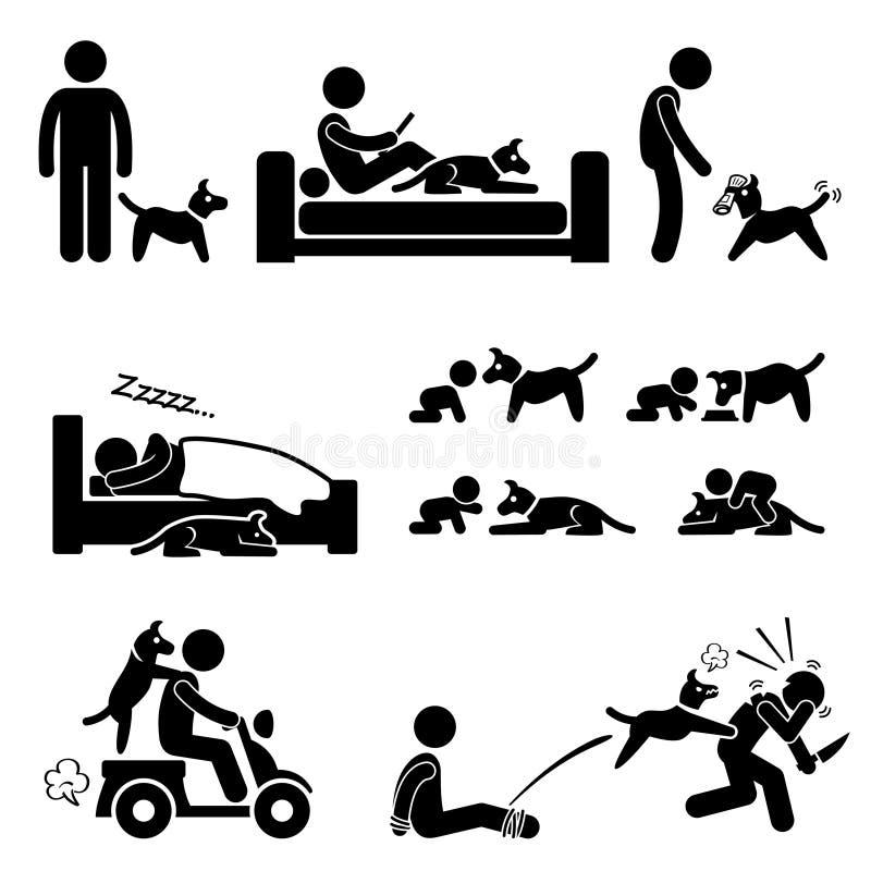 Animal familier de relations d'homme et de chien illustration libre de droits