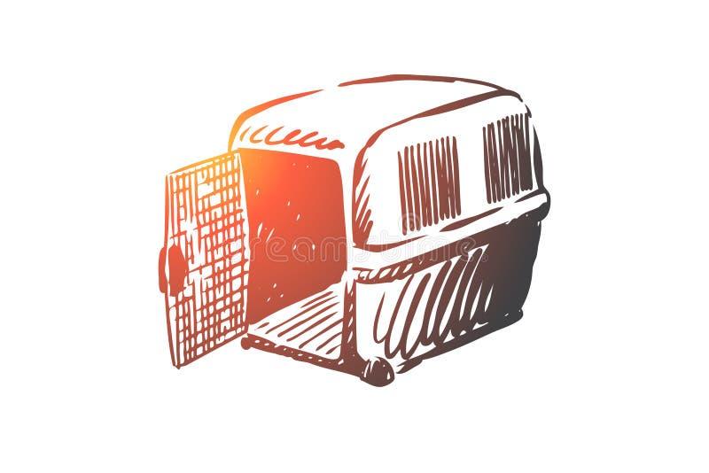 Animal familier, animal, transporteur, cage, concept de transport Vecteur d'isolement tiré par la main illustration stock