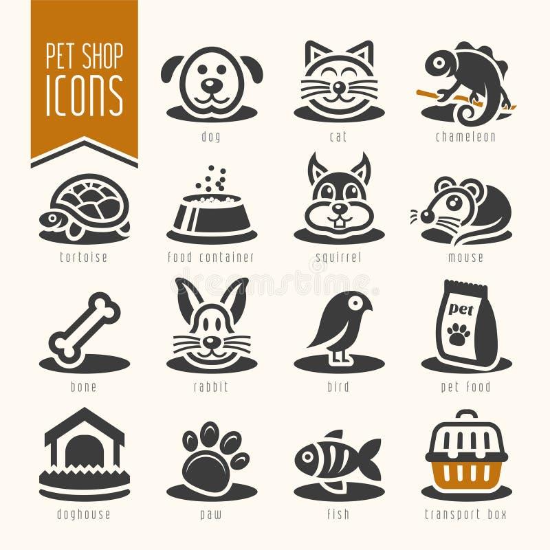 Animal familier, vétérinaire, ensemble d'icône de magasin de bêtes illustration libre de droits