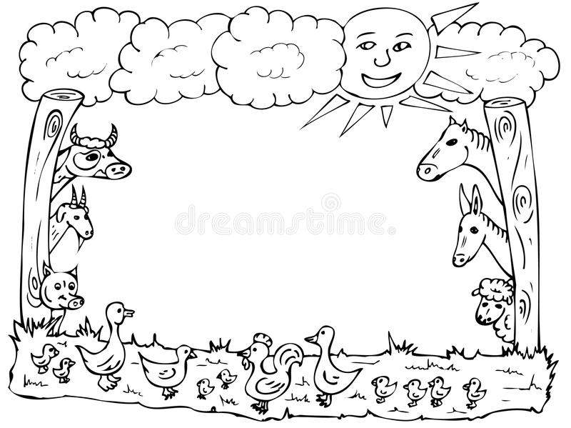 Animal farm frame stock illustration. Illustration of duck - 14334923