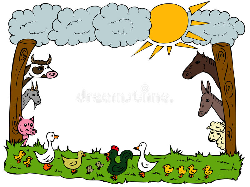Animal farm frame stock illustration
