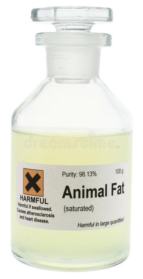 Animal Fat. Conceptual photo of animal fat, represented as a dangerous chemical. With clipping path. Excess consumption of saturated animal fats may contribute stock image
