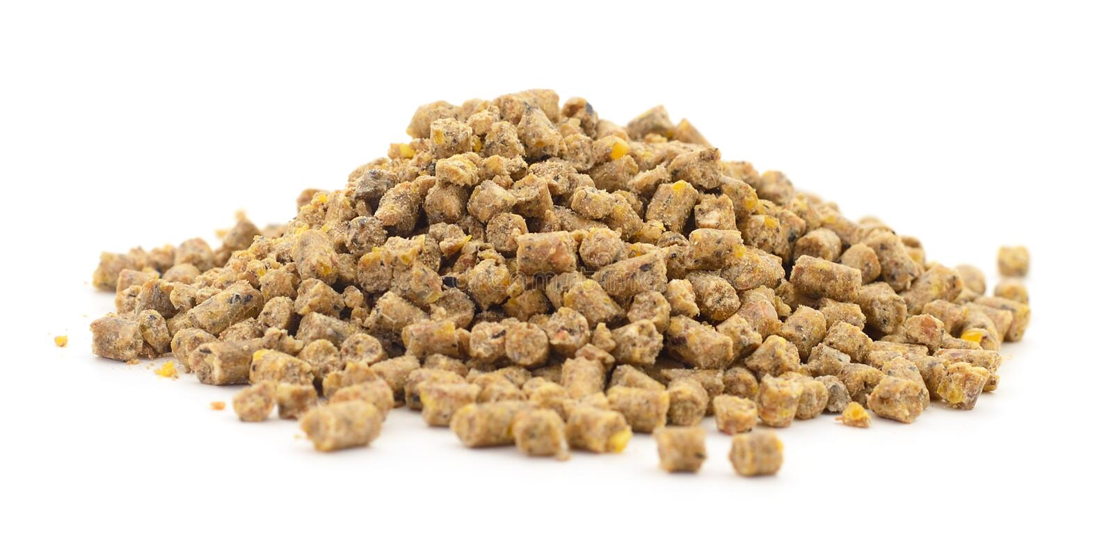 Animal feed for chicken. Closeup on white background stock photo