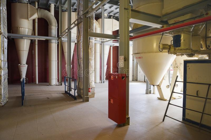 Animal feed factory. Modern industrial building interior royalty free stock image