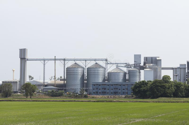 Animal feed factory and storage silos. Landscape royalty free stock photos