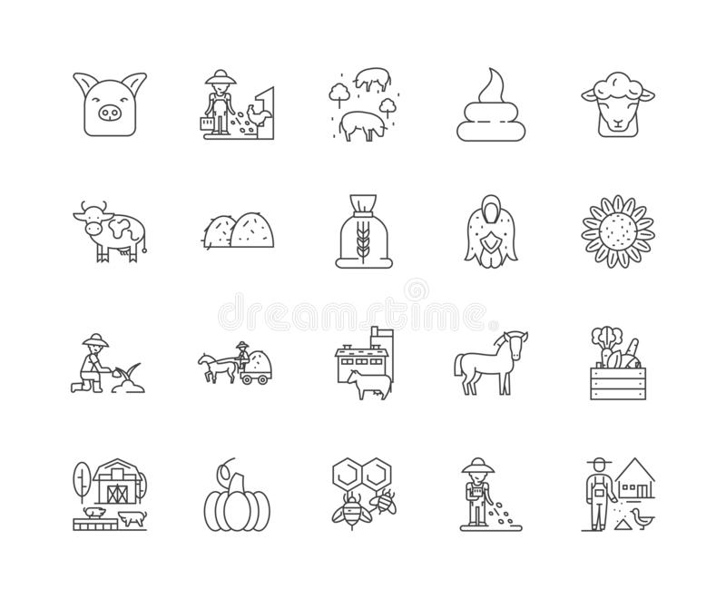 Animal feeds line icons, signs, vector set, outline illustration concept. Animal feeds line icons, linear signs, vector set, outline concept illustration royalty free illustration