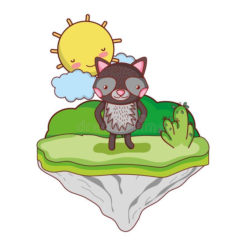Animal feliz del mapache en la isla del flotador ilustración del vector