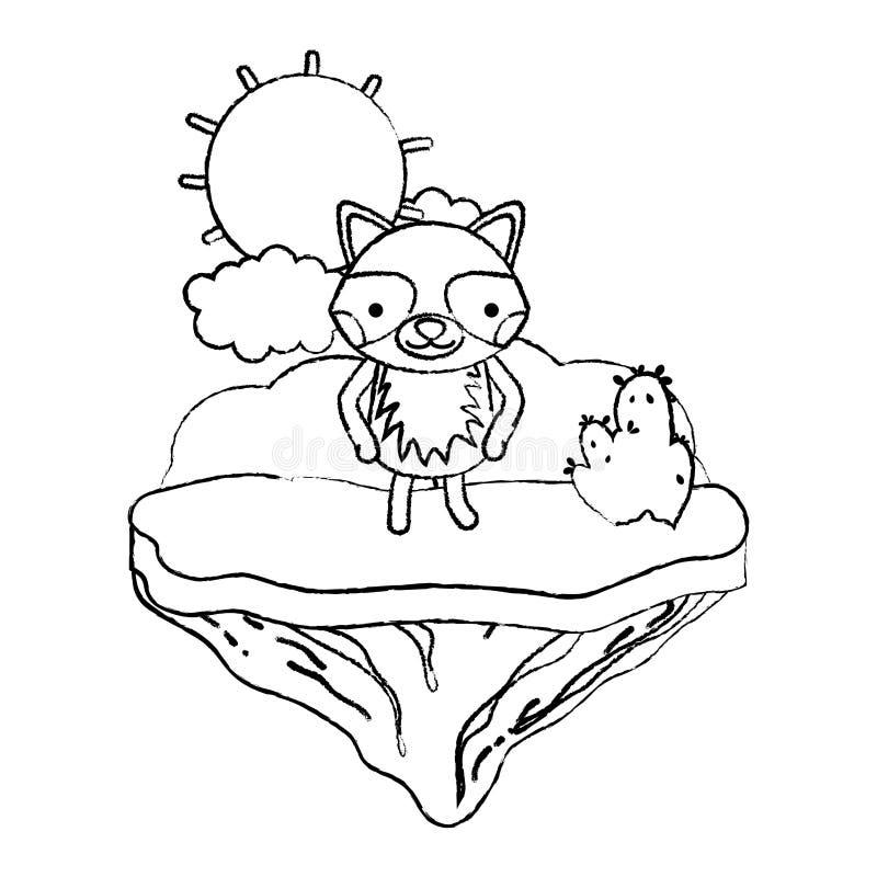 Animal feliz del mapache del Grunge en la isla del flotador ilustración del vector