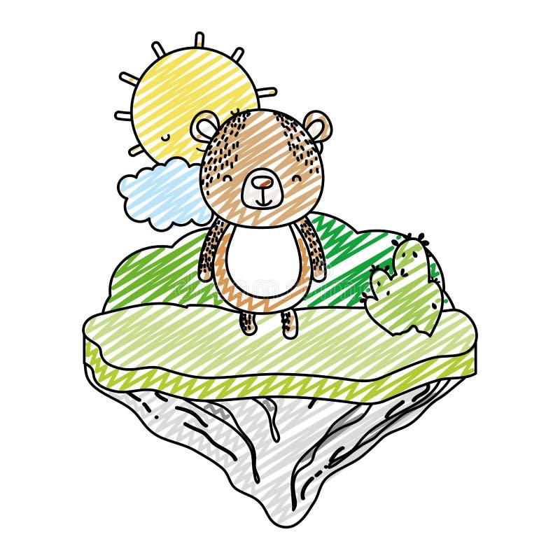 Animal feliz del oso del garabato en la isla del flotador stock de ilustración