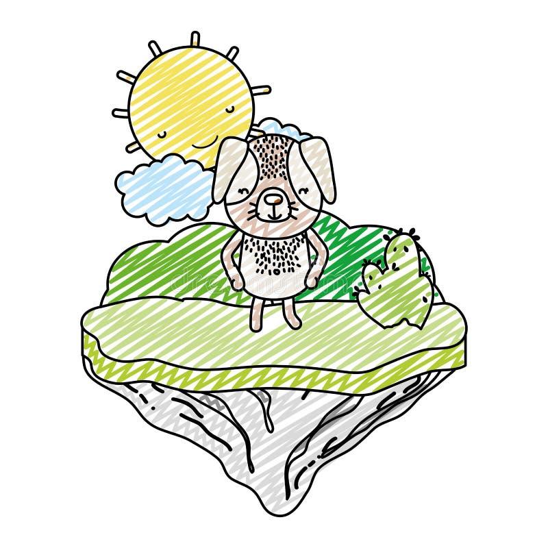 Animal feliz del perro del garabato en la isla del flotador stock de ilustración