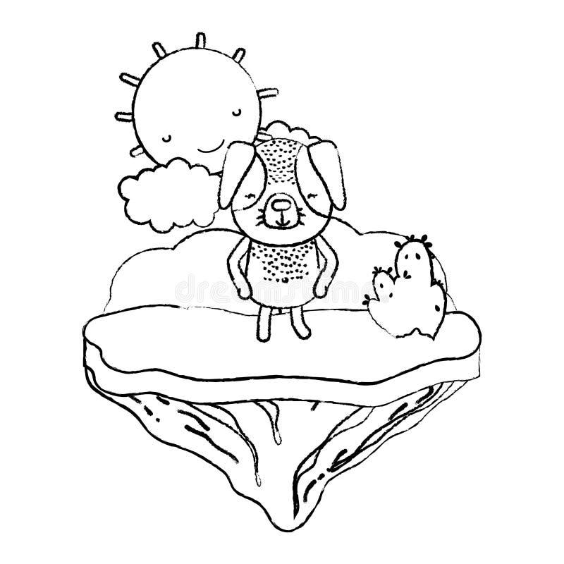 Animal feliz del perro del Grunge en la isla del flotador ilustración del vector