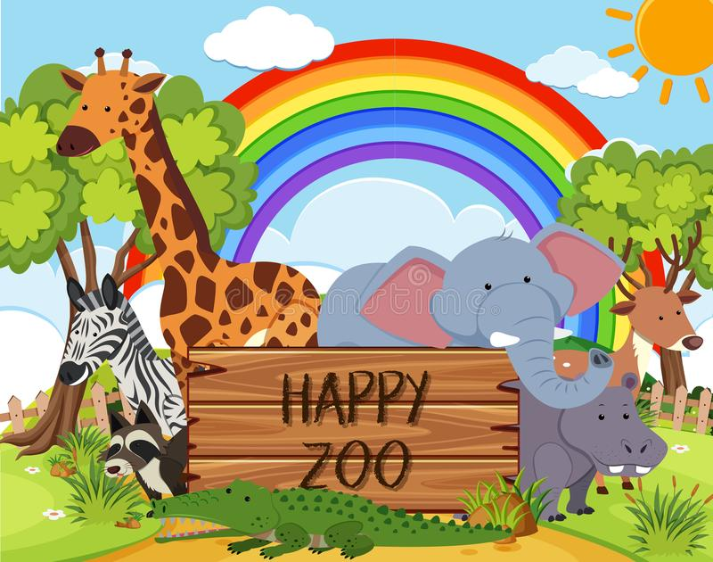 Animal feliz no jardim zoológico ilustração do vetor