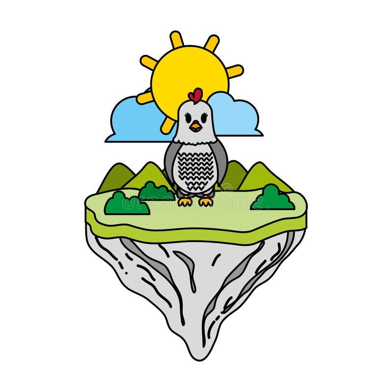 Animal femelle de poule de couleur en île de flotteur illustration stock