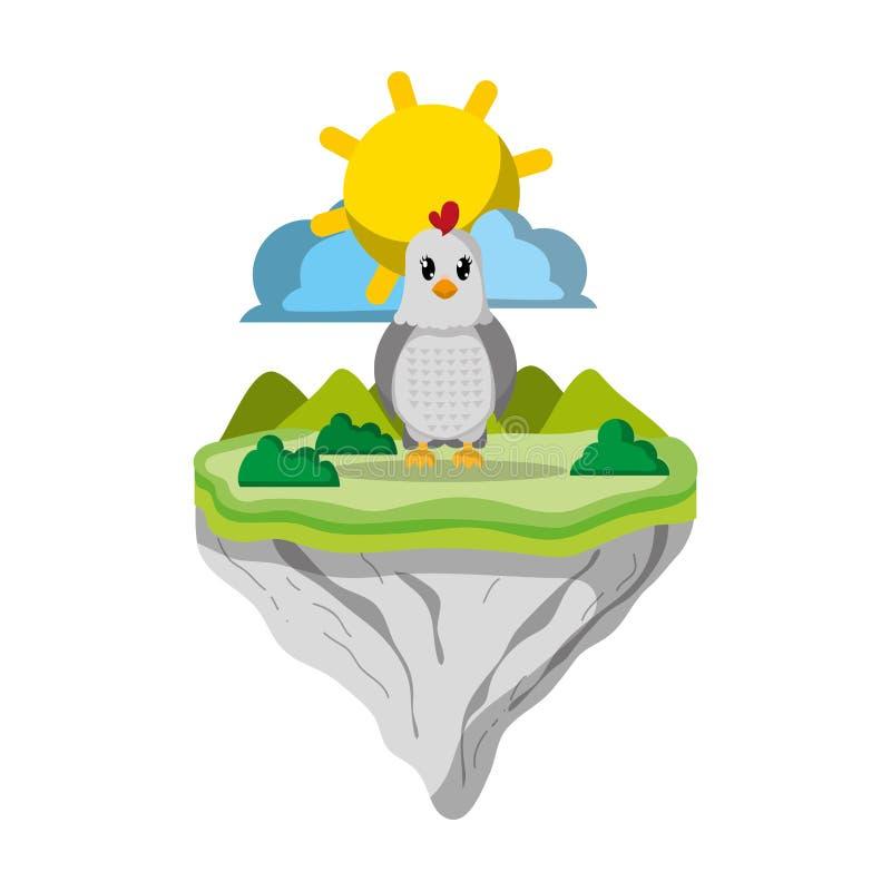 Animal femelle de poule en île de flotteur illustration libre de droits