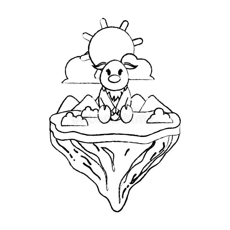 Animal femenino de los ciervos del Grunge en la isla del flotador stock de ilustración