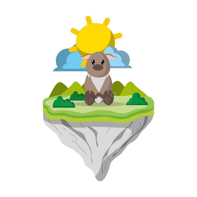 Animal femenino de los ciervos en la isla del flotador libre illustration