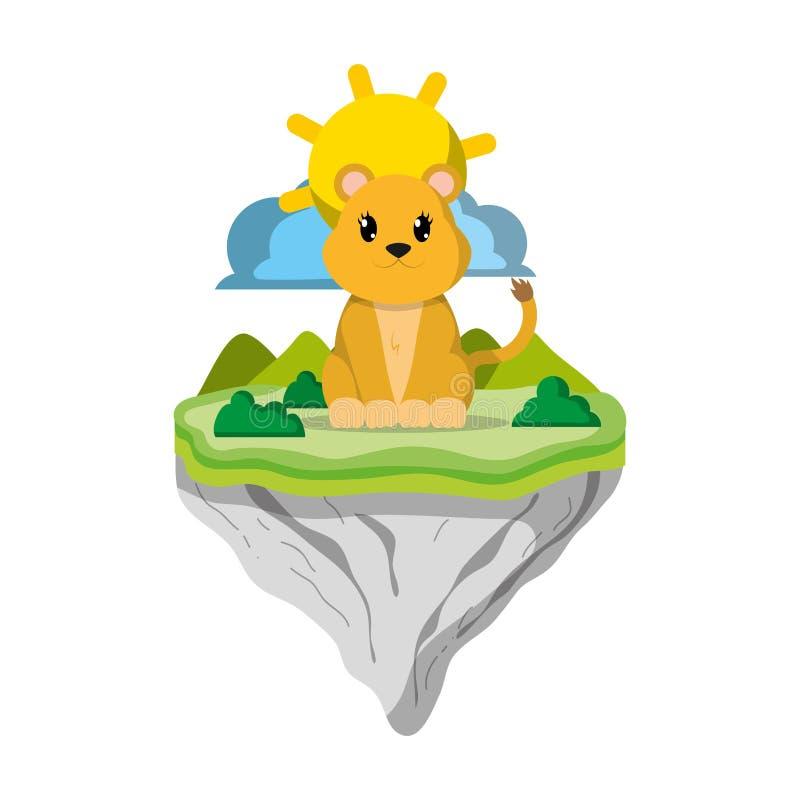Animal femenino del león en la isla del flotador libre illustration