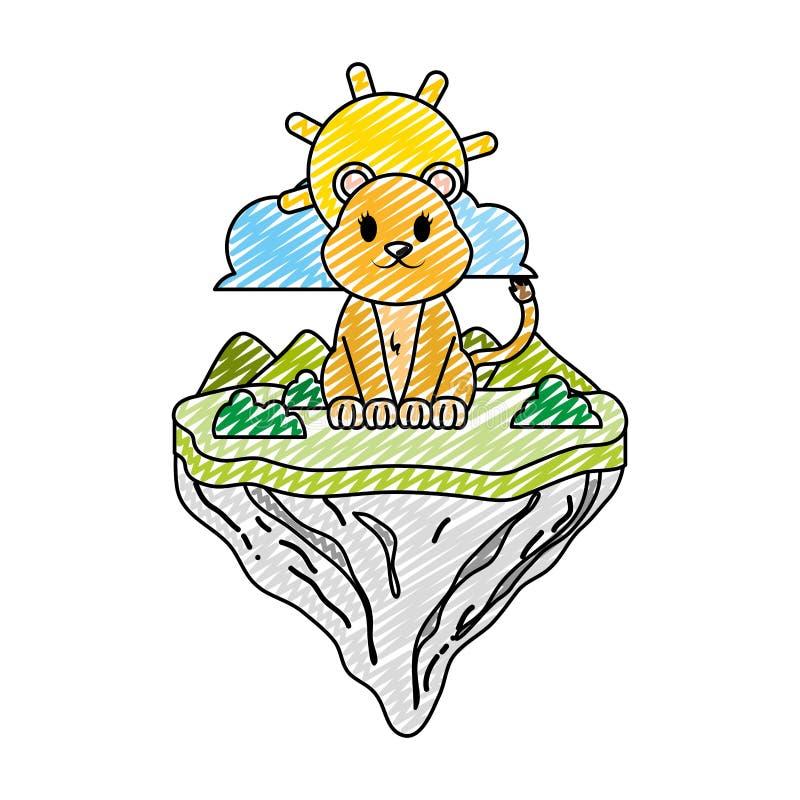 Animal femenino del león del garabato en la isla del flotador ilustración del vector
